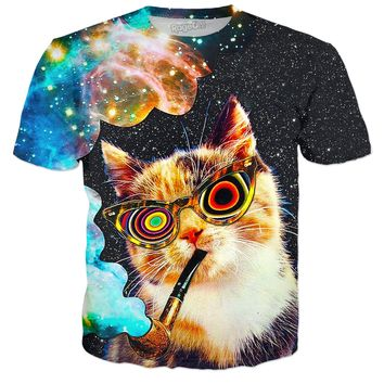 Smoking In Outer Space Cat T-Shirt