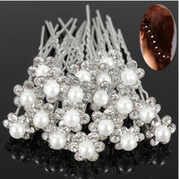 Hot Selling Lovely Wedding Bridal Crystal Rhinestone Pearl Flower Hair Pin Clips = 1931918788