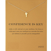 make wish confidence is key gold silver color small simple Clavicle Necklace Minimalism Pendant Necklace Women jewelry Na