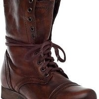 Steve Madden Troopa Combat Boot Brown Leather - Jildor Shoes, Since 1949