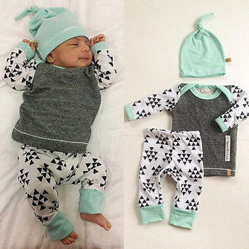3 PCS Newborn Baby Triangle suit kids Girls Boys Clothes Long Sleeve T-shirt Tops Pants Hat Outfit