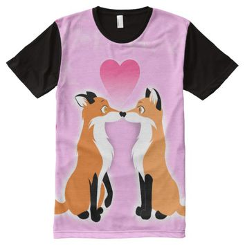 Valentines Day Foxes All-Over Print T-shirt