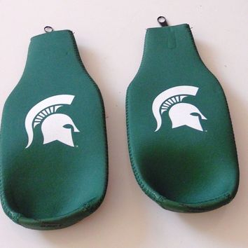 MICHIGAN STATE UNIVERSITY NCAA NEOPRENE BOTTLE KOOZIES  2-PACK LOGO