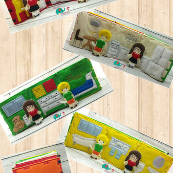 Felt dollhouse book, playhouse, dress up doll, toy, game, felt doll, unpaper doll, doll house, play house