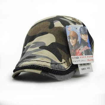women men vintage Camouflage berets hat cotton casual flat cap male female camo sun visor gorras mesh summer newsboy bone sunhat
