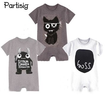 2017 Brand Baby Rompers Cartoon Short Sleeve Cotton Baby Boy Rompers Boss Monster Pattern Summer Baby Boy Clothes