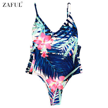 ZAFUL One Piece Swimsuit Sexy Swimwear Women 2017 Summer Beach Wear Bathing Suit Sexy Cut Out Floral Pirnt Monokini Swimsuit