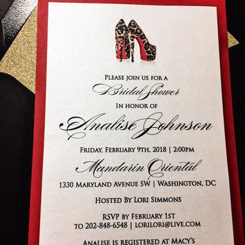Bridal Shower Invitation; Glitter Louboutin Inspired Bridal Shower Invitations; ANNALISE version