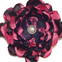 Handmade Pink and Black Fabric Flower on by AffordableAdorableKC