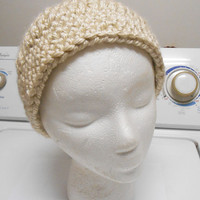 Crochet Taupe Light Brown Cream Warm Slouch Beanie Hat fits adult or kid
