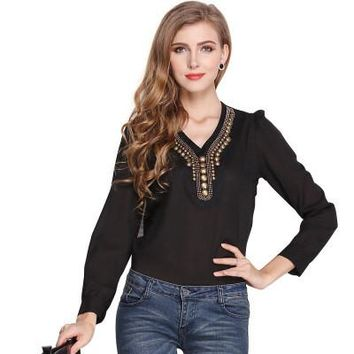 V-neck Solid Color Fashion Retro Copper Long-sleeved Chiffon Shirt