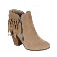 Fall Fashion Must Have! Fringe Beige Bootie Boots with Heel