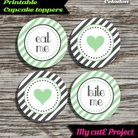 """Eat Me...Bite Me...Heart - Cupcake toppers - Celadon & Grey - Instant Download - Party printable - Party favor - Candy Bar - 5 cm / 2"""""""