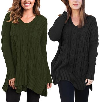 Women's Casual V Neck Loose Fit Knit Sweater
