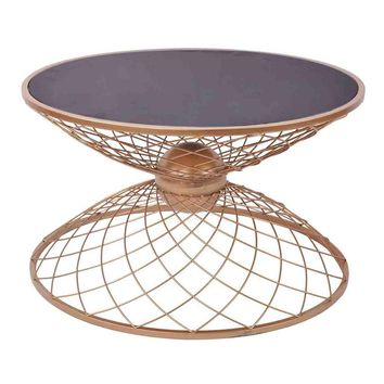 Net Base Hourglass Shaped Metal Accent Table, Gold