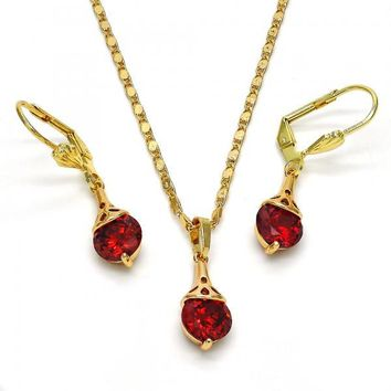 Gold Layered 10.213.0011 Necklace and Earring, with Garnet Cubic Zirconia, Polished Finish, Golden Tone