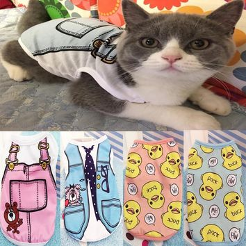 Cute Cat Clothes Summer Cool Breathable Pet T Shirt Vest For Small Cats Kitten Spring Soft Shirt Clothing XS-XXL