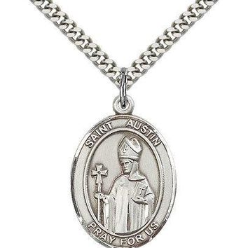 "Saint Austin Medal For Men - .925 Sterling Silver Necklace On 24"" Chain - 30 ..."