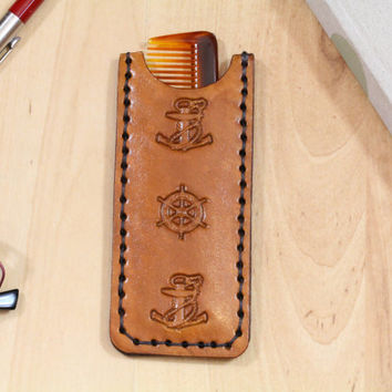 Anchor Comb Case - Leather Comb Case - Ships Wheel Pocket Comb Cover - Anchor Comb Cover - Nautical Birthday Gift - Christmas Gift For Dad