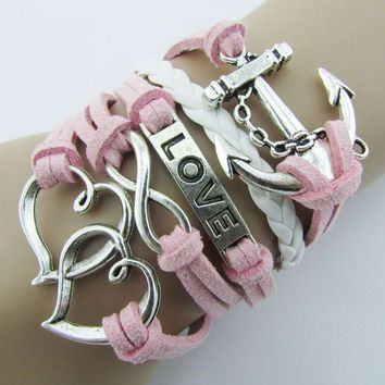 Infinity Double Heart Anchor Leather Cute Charm Bracelet Silver DIY