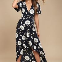 Lake Como Navy Blue Floral Print High-Low Wrap Dress