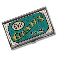 Evil Genius For Hire Vintage Business Card Holder