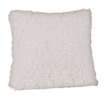 Saro Lifestyle TH959 White 18-Inch by 18-Inch Faux Fur Pillow, Square