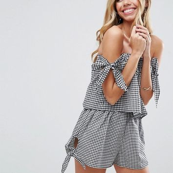 ASOS Bunny Tie Gingham Beach Co-ord Top at asos.com
