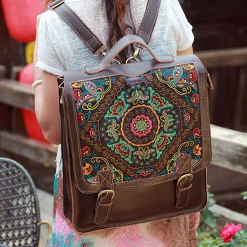 Juice Action Women's Handmade Genuine Leather Embroidered Bag Laptop Backpack