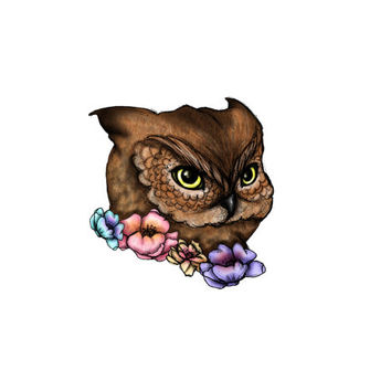 Floral Owl limited edition temporary tattoo artist Amanda Whitelaw