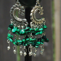 Malachite Stone Chandelier Earrings ~ Green Stone Jewellery ~ Semi Precious Stones ~ Natural Chip Stones ~ Boho Style ~ Bohemian Earrings
