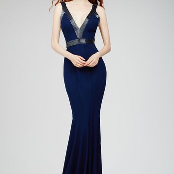 Dark Blue Sheath Dress 28718 - Evening Dresses
