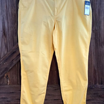 New Lauren Ralph Lauren Boyfriend Crop Yellow Pants 16W $89