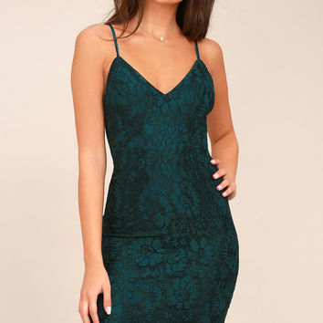 Extraordinary Love Forest Green Lace Midi Dress