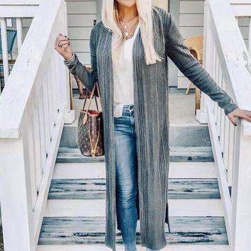 A Good Thing Open Front Long Body Cardigan (Charcoal)