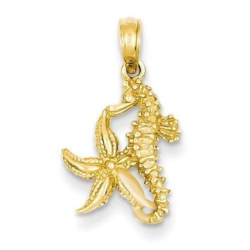 14k Yellow Gold Solid Seahorse and Starfish Pendant