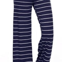 Casual Striped Pants - Navy