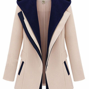 Long Sleeve Single Buttoned with Outerwear Hood Coat