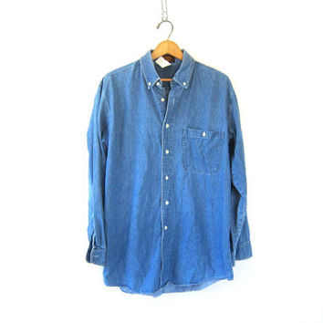 Vintage denim shirt. Button up pocket shirt. Slouchy boyfriend jean shirt. slouchy Cotton preppy Shirt. size medium large