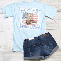 Kick Off Your Boots Short Sleeve Tee {Chambray}