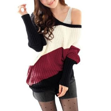 Women Scoop Neck Long Sleeve Pullover Textured Casual Autumn Sweater