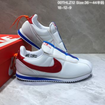 KUYOU N832 Kendrick Lamar x Nike Cortez Basic Slip Casual Running Shoes Grey Red Blue