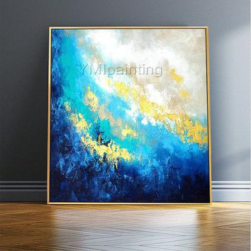 Modern abstract Blue acrylic Gold paintings on canvas Original Ocean Sea Waves Large Wall Pictures Seascape cuadros abstractos hand painted