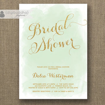 Mint & Gold Glitter Bridal Shower Invitation Modern Watercolor Shabby Chic Green Wedding Hens Party Lingerie DIY Printable or Printed- Delia