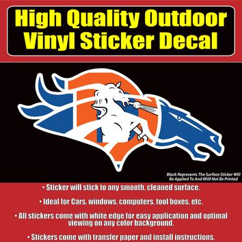 NFL Denver Broncos with Many Design Size Options, Car Window Vinyl Decal Sticker
