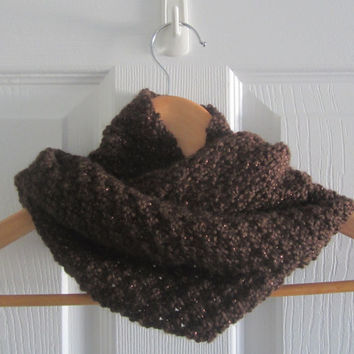 Hand Knit Scarf - Sparkly Scarf - Brown Metallic Scarf - Mini Infinity Scarf - Long Knit Cowl - Chocolate Brown Knit - Acrylic Scarf