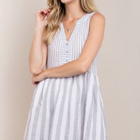 Gray Contrasting Stripe Dress