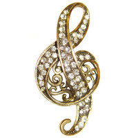 Hollycraft Brooch, Treble Clef, Signed, Rare, Collectible