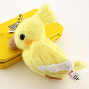 Parakeet Plush Doll Cell Phone Charm (Cockateel/Yellow)
