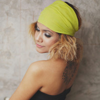 Leaf green- Hippie Elastic Bandana /Summer Headband Collection/  Bandana Plain  collection